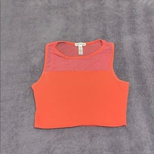 mesh coral dance cropped top